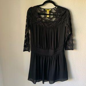 Catherine Malandrino black lace detail dress